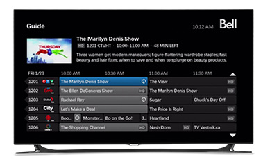 bell fibe tv guide show only subscribed channels